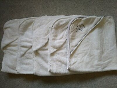White 70cm square Hooded Baby Towels x 5. Good condition. No stains