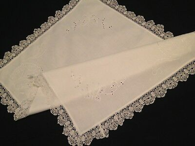 VINTAGE HAND EMBROIDERED WHITEWORK And LACE TABLECLOTH ~ BEAUTIFUL BUTTERFLIES