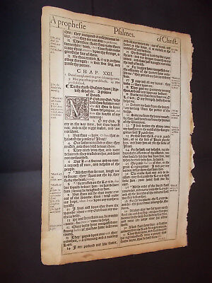 1st Edition-2nd Pr-1611 King James Bible Leaf-Folio- Psalm 22-Crucifixion