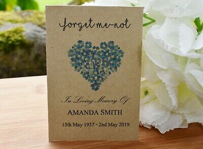 30 Funeral Favour Personalised Seed Packets Memorial|Forget Me-not (with seeds)