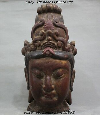 Collect Chinese Temple Old Wood Hand-Carved Kwan-yin Guanyin Buddha Head Statue