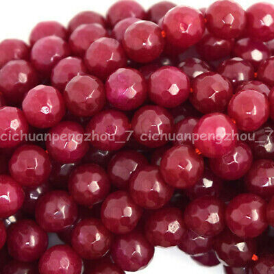 """Faceted 6/8/10mm Natural Brazil Red Ruby Gemstone Round Loose Beads 15"""""""