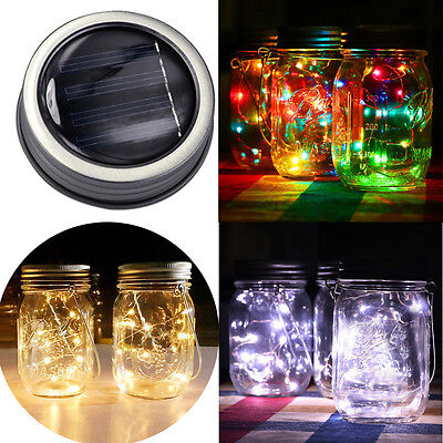 10 LED Fairy Light Solar For Mason Jar Lid Insert Color Changing Garden Decor UK