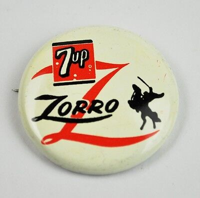 7up Dr. Pepper Cola Pin Button Badge Anstecknadel USA 1957 7up Zorro