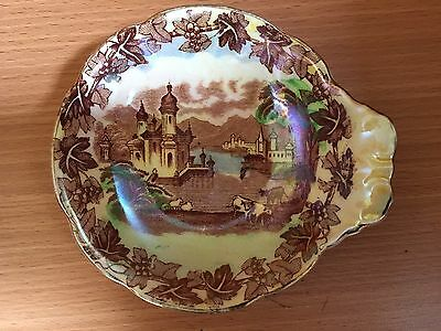 Antique Iridescent Lusterware Maling Tab Handle Plate #6532H New Castle, England