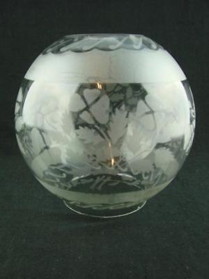 """Etched Glass Globe Oil Lamp Shade 4"""" Fitter, Stylised Foliate Decoration"""