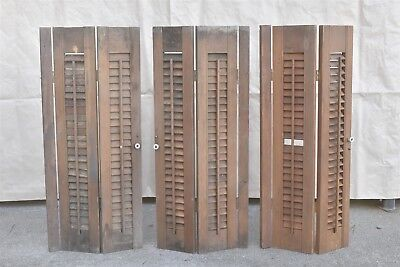 Vintage SET 3 INTERIOR WOOD LOUVERED BIFOLD WINDOW SHUTTERS PORCELAIN KNOB 06408