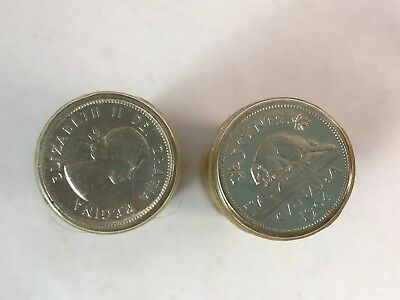 Two Rolls Of Canadian 1964 Nickels Five Cent Coins ~ Must See