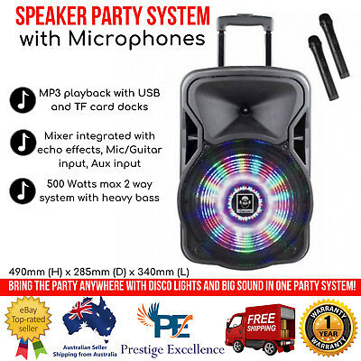 iDance Wireless PA System 500W with Microphones Bluetooth Speaker Party System