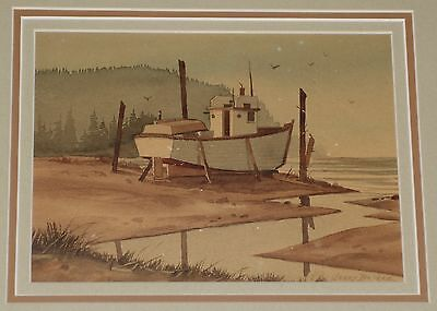 Orig Jerry Becker Watercolor Painting Small Fishing Boat Dry Docked at Low Tide