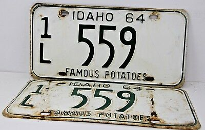 1964 IDAHO License Plate Collectible Antique Vintage Matching Set Pair 1L 559