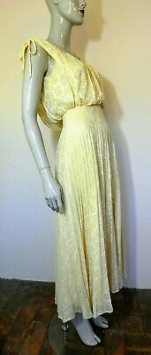 Vintage 1970s Dress, Pale Yellow, Pleated, Floral, Art Deco Style, Size 10