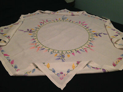 Vintage Hand Embroidered White Linen Tablecloth ~  Exquisite Circle Of Flowers