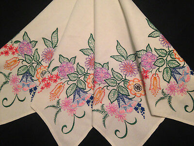Vintage Hand Embroidered Tablecloth  ~ Beautiful Jacobean Florals