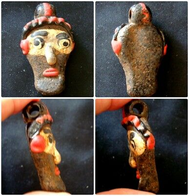 Antique Phoenician Handmade Mosaic Glass Face Head Pendant 461