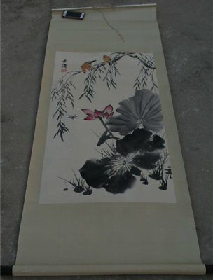 "68"" Old China Art Hand Drawing Ink Pager Flower Bird Scroll Painting ""雪涛草虫"""
