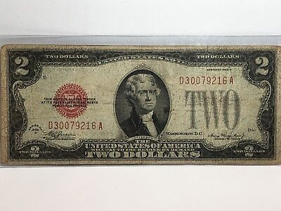 1928 D $2 Two Dollar Red Seal Bill US Paper Money In GOOD CONDITION