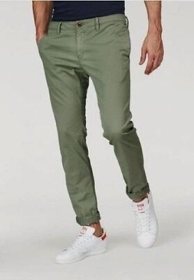 Tommy Hilfiger Jeans Chinos Slim Fit W33-W38 L34 Pantalon Hommes Vert  Stretch 66b3a8be94d6