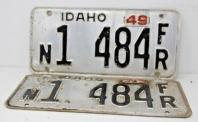 1949 IDAHO License Plate Collectible Antique Vintage Matching Set Pair N 1484 FR