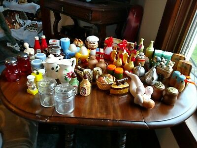 Vintage Lot Of 27 Salt & Pepper Shakers, Ceramic, Plastic, Wood