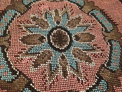 Antique Victorian Hand Beaded Bead Work Circular Panel For Footstool