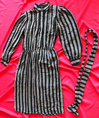 Women's Vintage SILK Black Grey Stripe Dress Size 10 Old Classic MCM Retro Mom