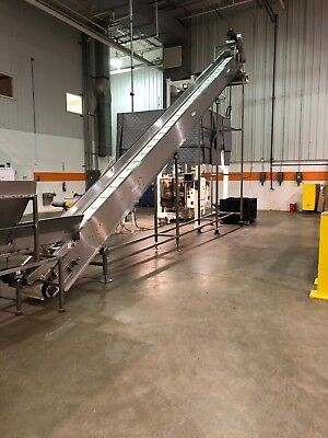 NEDCO 32' Stainless Steel Cleated Incline Conveyor - Used in Excellent Condition