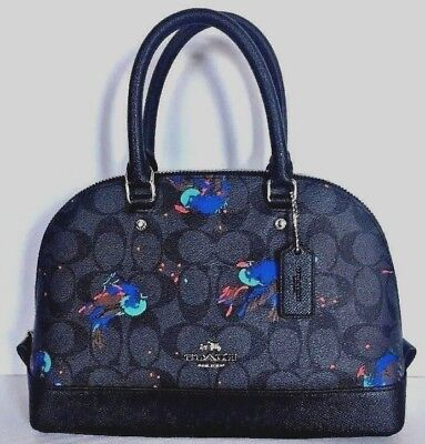 2b0eb61dab1c9 New Coach 22294 mini Sierra Satchel PVC Black Smoke Multi with Bird Print
