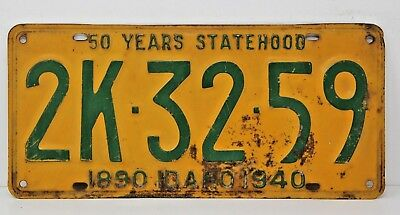 1940 IDAHO License Plate Collectible Antique Vintage 2K-32-59