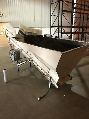 """BMI Incline Hopper Conveyor (Painted) 132""""L x 26""""W with Ribbed Belt."""