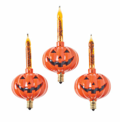 C7 PUMPKIN Bubble lights Halloween Set of 3 pack NEW Orange Jack O Lantern