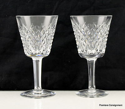 Pair of Waterford Crystal Alana Claret Wine Goblets