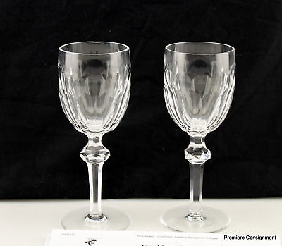 Pair Waterford Crystal Curraghmore (Cut) Claret Wine Goblets