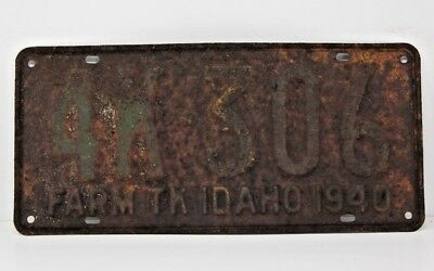 1940 IDAHO License Plate Collectible Antique Vintage 4K-306