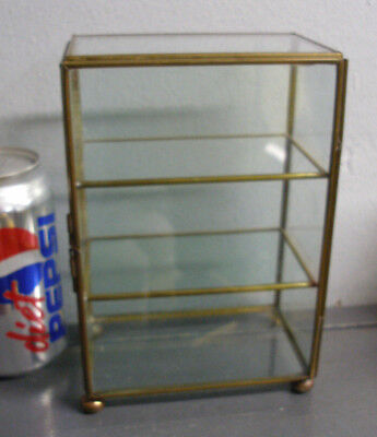Vintage Glass & Brass Curio Display Cabinet Case 3 Tier Footed Base Hinged Door