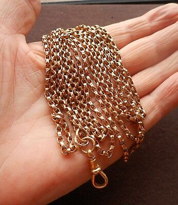 Gorgeous Victorian Rolled Rose Gold Full Length Belcher Link Muff Chain/Guard