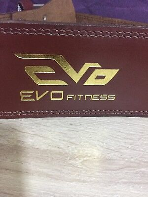 EVO Medium Leather Gym Belts Weightlifting Straps Back Support Wraps Fitness