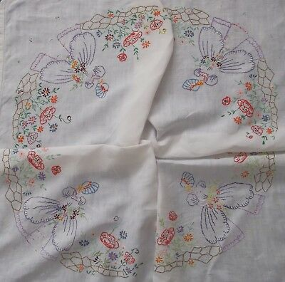 Vintage Crinoline Lady Flowers Garden Birds Hand Embroidered Linen Tablecloth