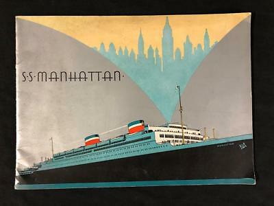 UNITED STATES LINES SS MANHATTAN Ocean Liner ART DECO BOOK, 1932 Original