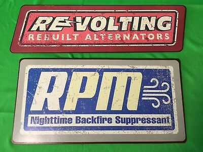 "Two (2) Disney Cars Tin Wall Signs: ""RPM"" & ""Revolting"""