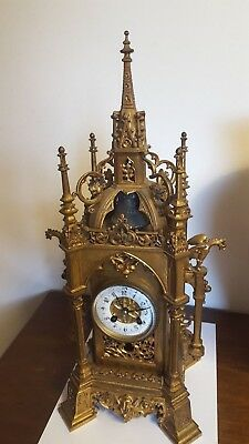 """Super French gilt bronze Cathedral clock  45cms or 18"""" tall  c1880 working"""