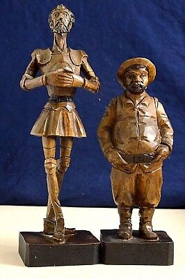 VINTAGE DON QUIXOTE & SANCHO PANZA WOOD FIGURINE HAND CARVED Great Quality
