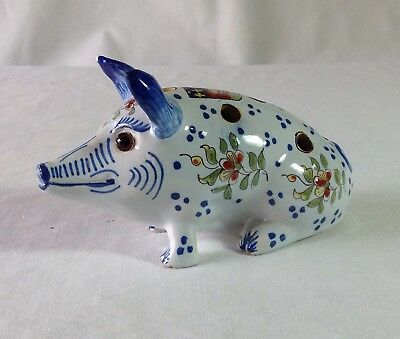 Old French Mosanic, Devres, Fourmaintraux Faience Pottery Pig