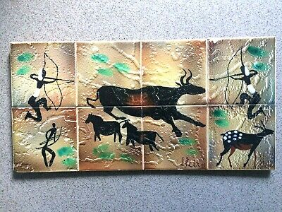Vintage Ceramic Studio Pottery Mural Pictorial Tiles Signed