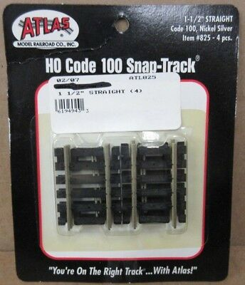 """Atlas 825 HO Scale Code 100 1.5"""" Straight Section (4 Pcs) Nickel Silver NOS"""