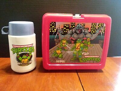 VTG TEENAGE MUTANT NINJA TURTLES TV SHOW PLASTIC LUNCH BOX PAIL With THERMOS 2