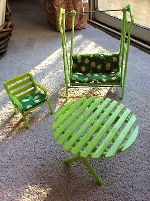 Plastic Doll Furniture patio table, chair and swing set  - NICE!