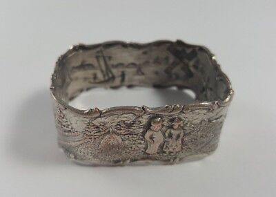 Antique Vintage Silverplate / Silver Plate Square Napkin Ring w/ Dutch Windmills