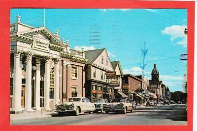 Postcard ~ Main St., Warren, RI 1950 cars ~ Vintage 3716