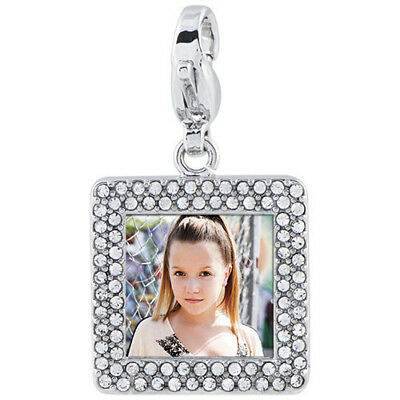 Origami Owl Silver Square Pave Photo Frame Dangle NEW